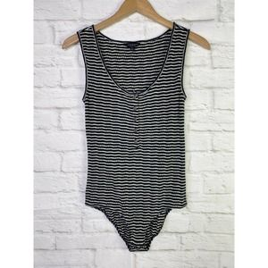 Lucky Brand Striped Textured Button Bodysuit
